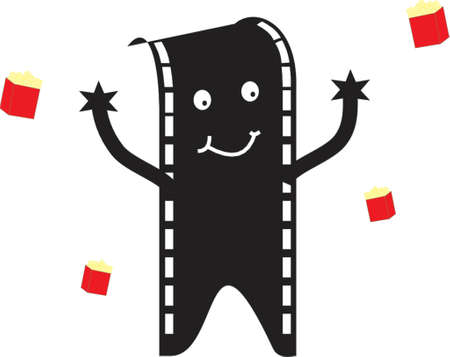 film man with popcorn bags Vector