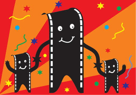 film man and family with party background Vector