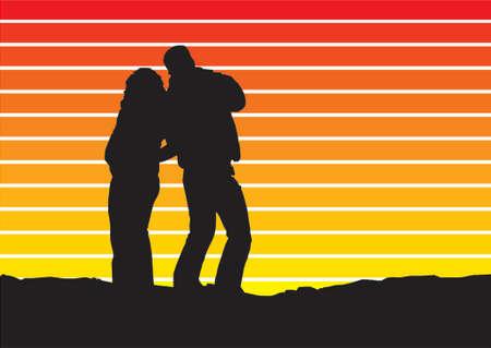 pal: sunset silhouette bars background Illustration