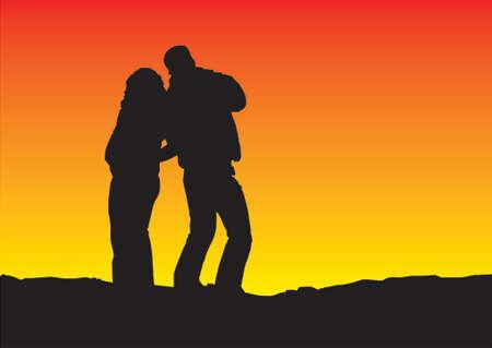 conversing: sunset silhouette gradient background