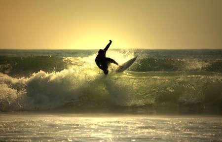 Tramonto surfer  Archivio Fotografico