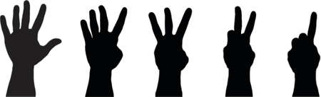 fondo luminoso: 5 manos con 1 a 5 dedos  Vectores