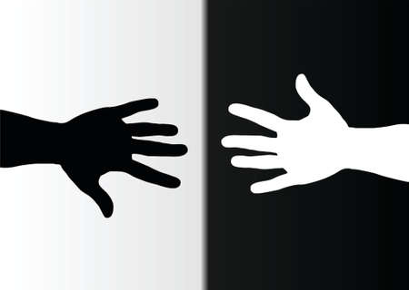 closed fist: hands black and white