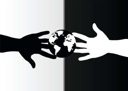 racism: hands black and white and globe