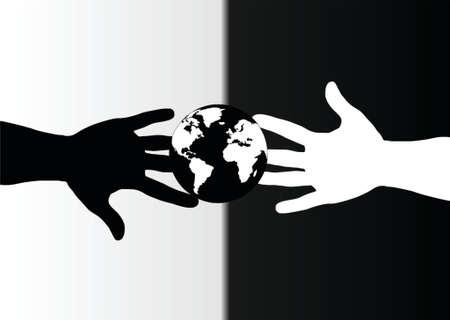 racismo: manos en blanco y negro y el mundo