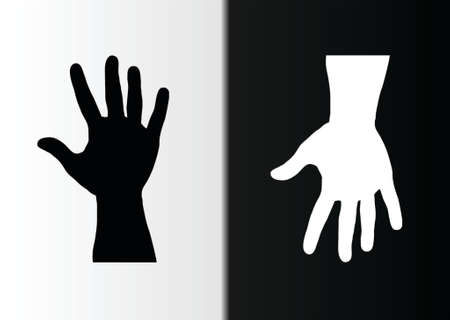 hands black and white up and down Vector