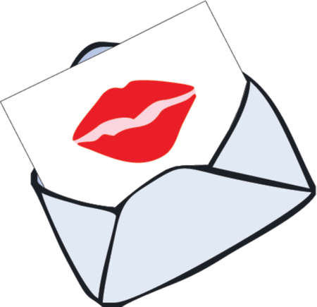 envelope with kiss Vector