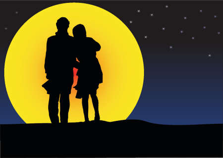 couple sunset silhouette Vector