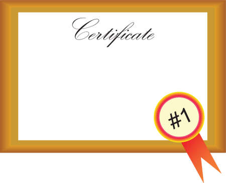 certificate with number one Vector