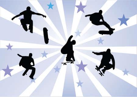 skate park: skaters Illustration