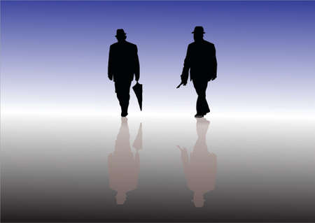 reflexe: silhouette d'un vieil homme avec reflex Illustration