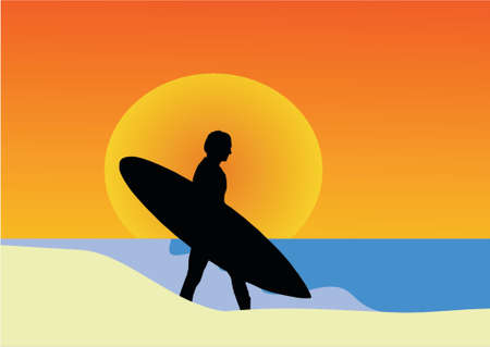 exhilaration: sunset surf Illustration