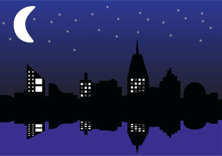 city moon reflex Vector