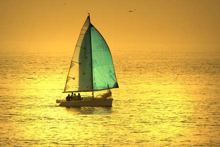 sail boat in a sunset sky photo
