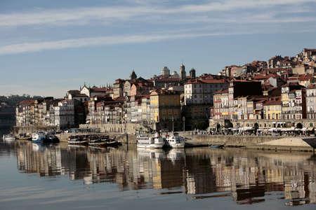 douro: reflex of oporto in the douro river
