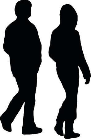 conversing: couple walking Illustration