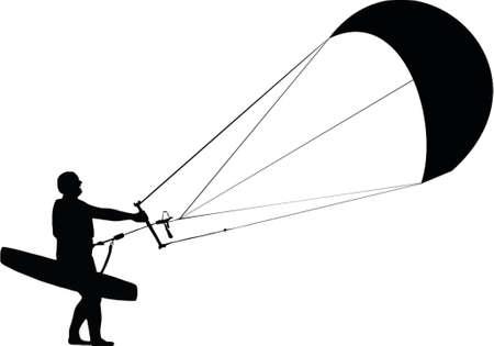 kite surfing: kitesurfer silhouet