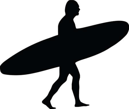 coast guard: surfista con longboard Vectores