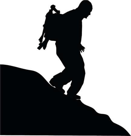 クライマー: 山の中を歩く男