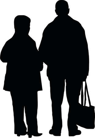 conversing: couple with bag
