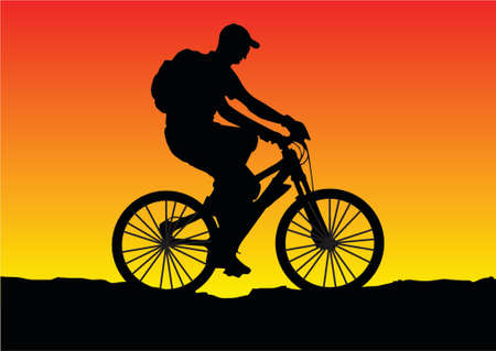 mtb: illustration of a sunset bicycle