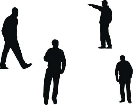 soccer coach: people silhouettes Illustration