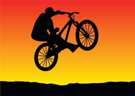 mtb: sunset bicycle jumping