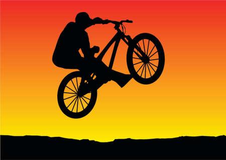 one wheel bike: sunset bicycle jumping