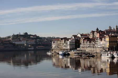 oporto: reflex of oporto in the douro river