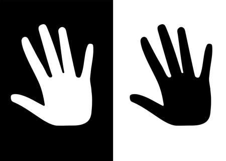 racismo: un negro y una blanca mano a mano