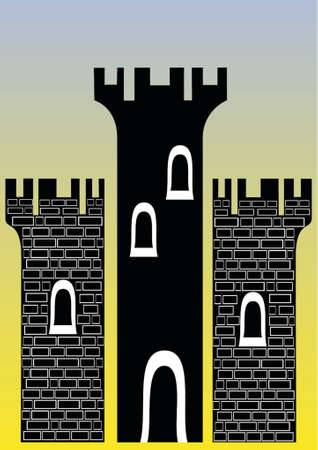 llustration of a castle with three towers - You can change the bricks and colors easily Vector
