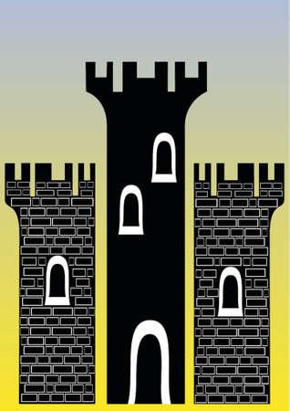 -3 つの塔と城のイラストレーションをレンガ色と簡単に変更できます。