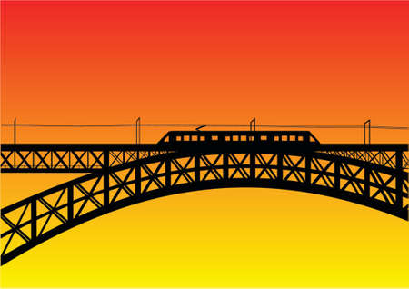 railroad tracks: illustration of a bridge with metro