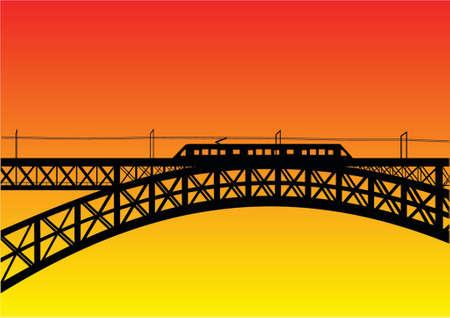 urban area: illustration of a bridge with metro