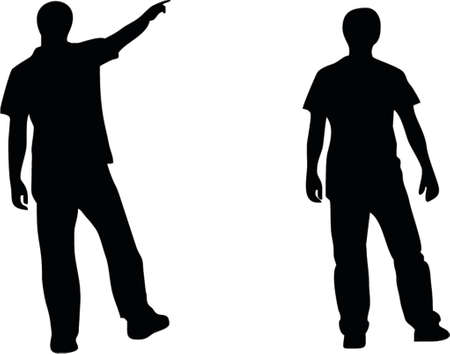 soccer coach: illustration of two people silhouette Illustration