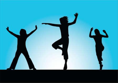 freedom of expression: illustration of three sport girls