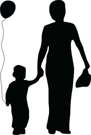 illustration of a mother and son with a ballon Vector