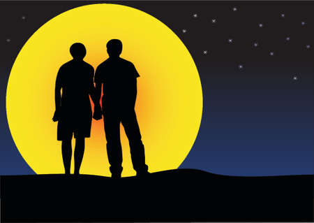 illustration of a couple sunset silhouette Vector