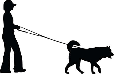 illustration of a woman and dog Vector