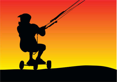 illustration of a silhouette sunset Buggying