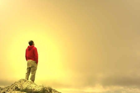 man in meditation on top of the mountain at sunset Stock Photo - 838275