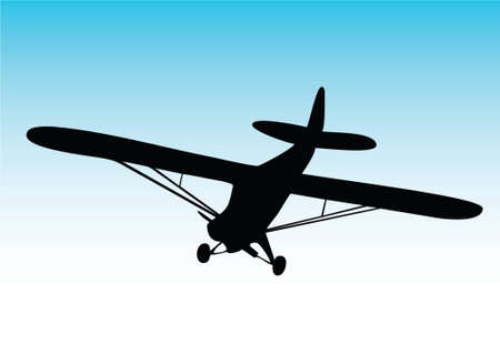 plane landing: illustration of one biplane aircraft Illustration