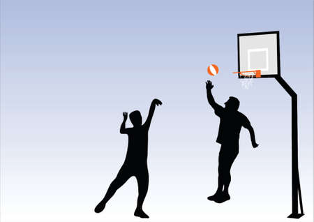 illustration of people playing basketball