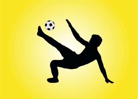 uefa: Abbildung eines Fu�ballspielers, der einen Fahrradeintragfaden bildet