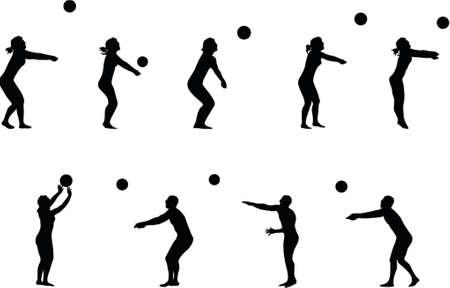 volleyball serve: la ilustraci�n de varias siluetas voleibol