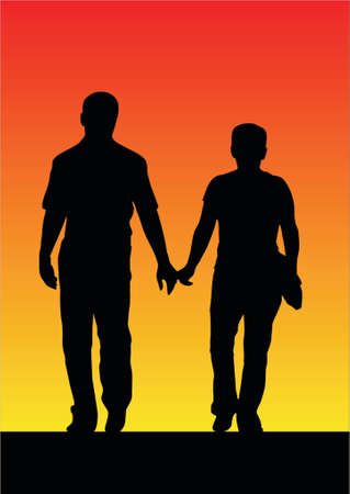 illustration of a couple sunset silhouette Illustration