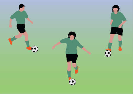 three soccer players - You can change numbers and colors easily