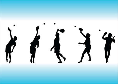 illustration of several tennis silhouettes Vector
