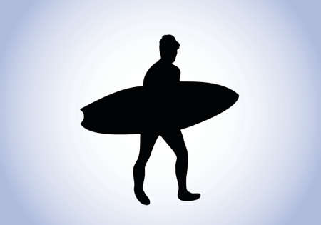 surfer silhouette with blue background Vector