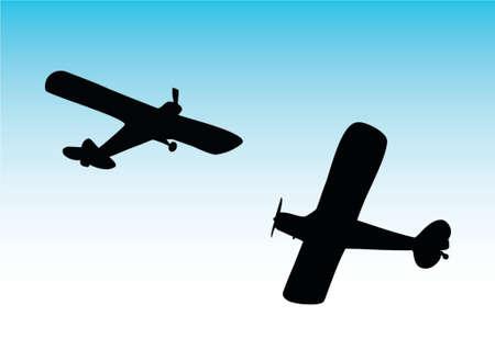 jetliner: illustration of two biplane aircraft Illustration